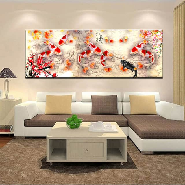 9 Nine Koi Fish Feng Shui Painting, Feng Shui Painting For Living Room